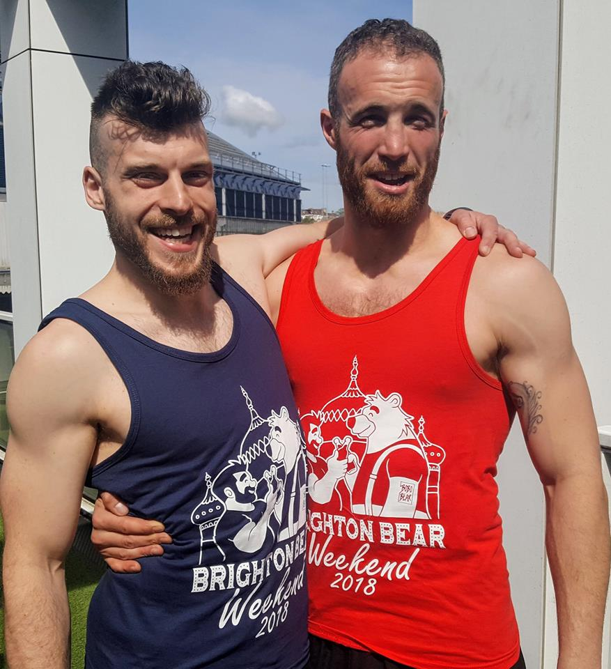 Brighton Bear Weekend 2018 vests in navy blue and red