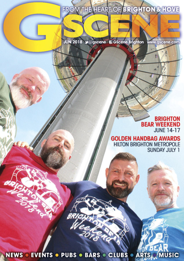 Brighton Bear Weekend on the cover of Gscene, June 2018