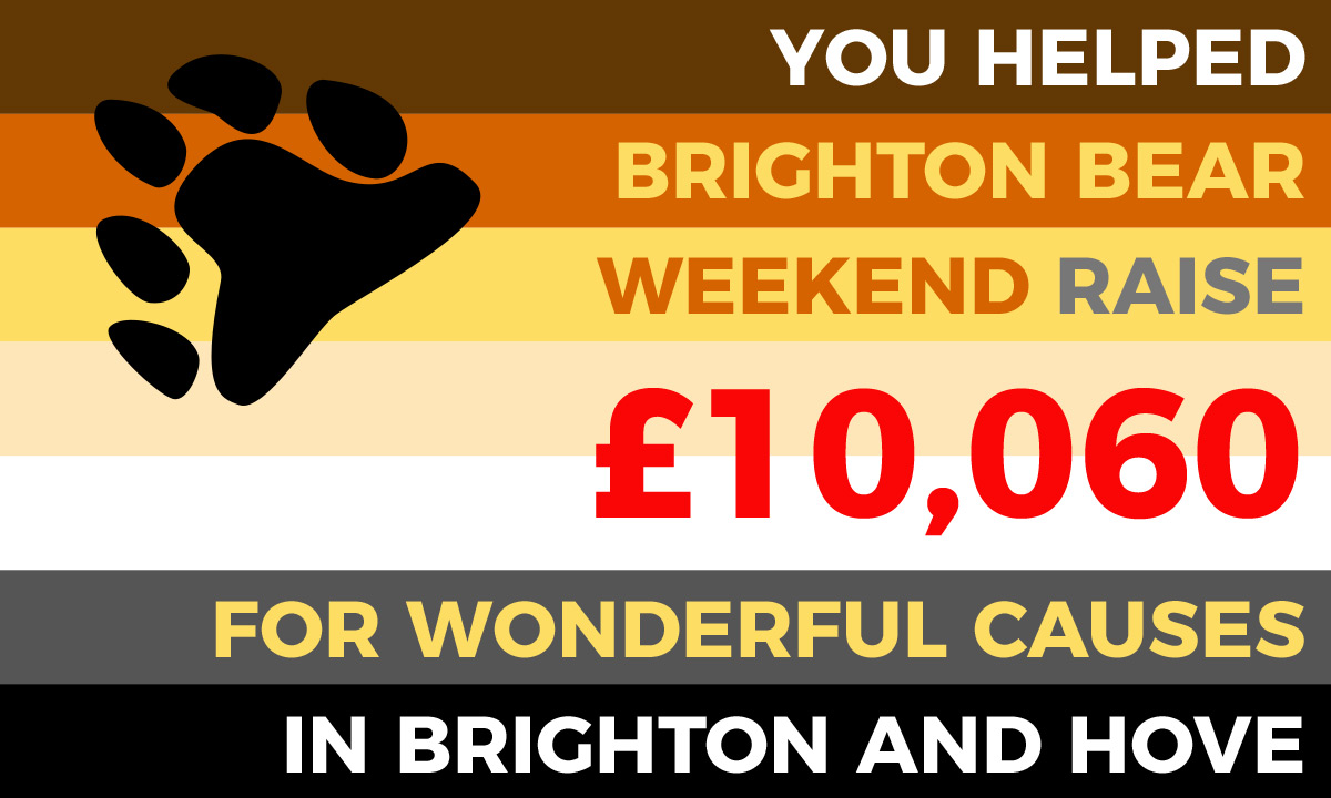 You helped Brighton Bear Weekend raise £10,060 for wonderful causes in Brighton and Hove