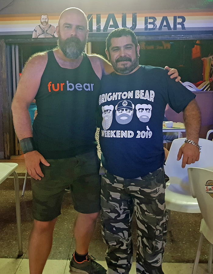 Mario from MIAU Bar, Gran Canaria, with Matt from Brighton Bear Weekend