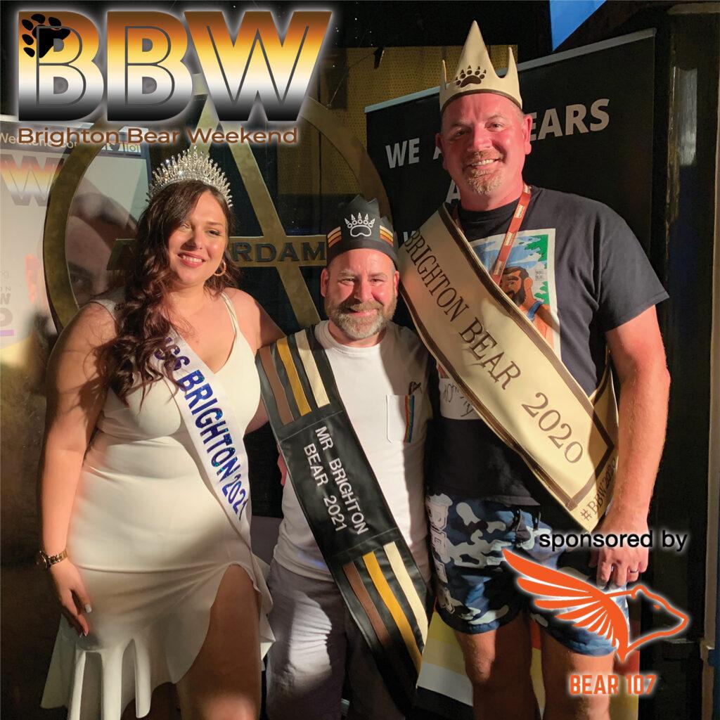 Mr Brighton Bear 2021 - Kevin, with Mr Brighton Bear 2020 and Miss Brighton