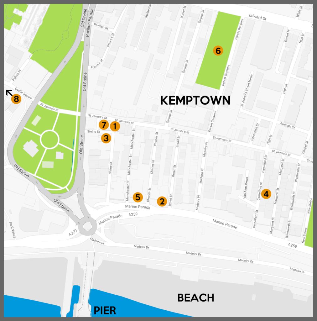 Map showing all venues in Kemptown